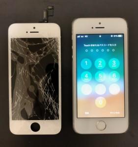全体が割れている画面と修理後のiPhoneSE