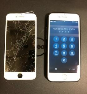 全体が割れている画面と修理済みのiPhone7Plus
