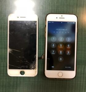 右下が割れて液晶漏れが起こっている画面と修理後のiPhone7