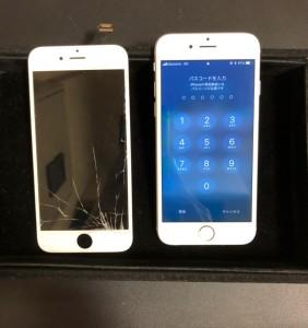 右下が割れた画面と修理後のiPhone6