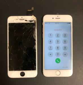 全体が割れて右上のガラスが剥がれた画面と修理後のiPhone6s
