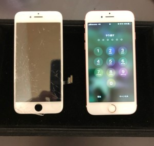映らない画面と修理後のiPhone7