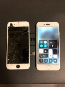 画面上部が剥がれたiPhone7