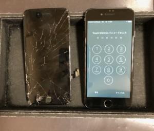割れた画面と修理後のiPhone7