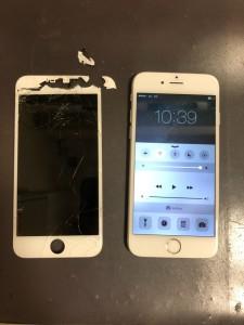 割れた画面と修理後のiPhone6