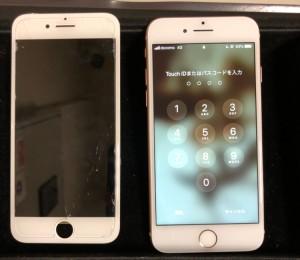 右半分が映らなくなる画面と修理後のiPhone8