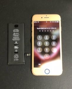 交換したバッテリーと修理後のiPhone6s