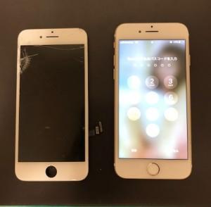 上半分のタッチが効かない画面と修理後のiPhone7