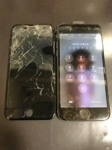 画面上部のパネルが剥がれたiPhone6