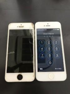 画面上部が破損したiPhone5