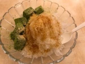 黒蜜抹茶わらび餅入りかき氷
