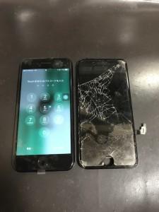 ガラスが蜘蛛の巣状に割れたiPhone7