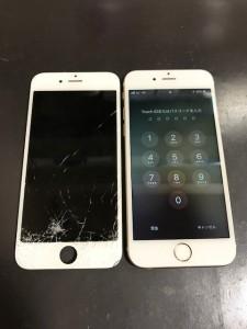 iPhone6sと修理交換後の割れパネル