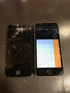 パネル上部が剥がれたiPhoneSE