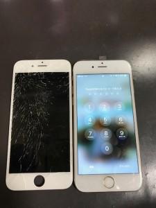 ガラスが激しく損傷したiPhone6s