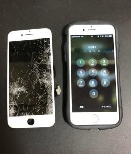 車に踏まれた画面と修理後のiPhone7