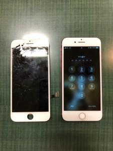 上部がバキバキの画面と修理後のiPhone7