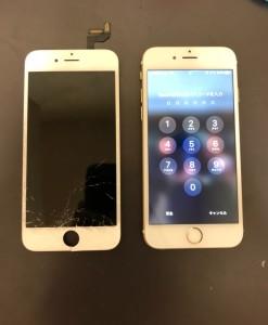 画面下部が割れている画面と修理後のiPhone6s