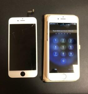 割れた画面と修理後のiPhone6s
