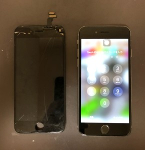上部が割れている画面と修理後のiPhone6