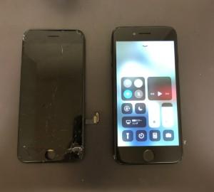 交換した画面と修理後のiPhone7