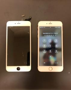 交換した画面と修理後のiPhone6s