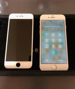 タッチが効かなくなった画面と修理後のiPhone7