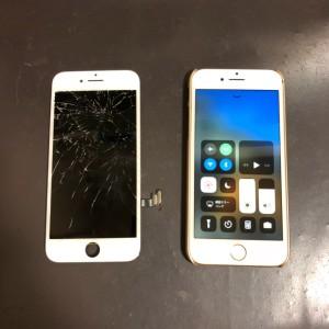 割れている画面と修理後のiPhone7