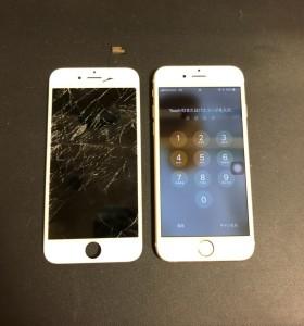割れている画面と修理後のiPhone6