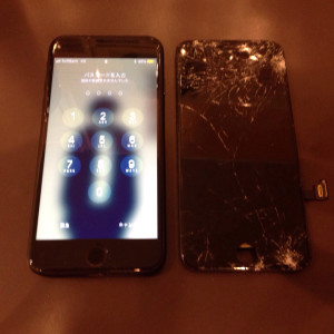 iPhone7、画面割れ、20210419